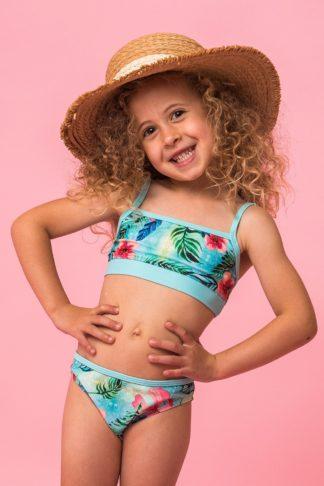 Dívčí dvoudílné plavky Linda tyrkysová 92
